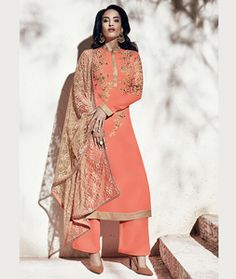 Buy Peach Georgette Palazzo Style Suit 70775 online at lowest price from huge collection of salwar kameez at Indianclothstore.com.