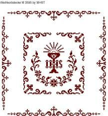 Ähnliches Foto Catholic Crafts, Altar Cloth, Cross Patterns, Knitting Projects, Religion, Projects To Try, Cross Stitch, Easter, Embroidery