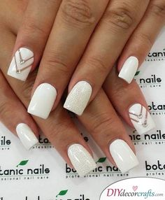 Dimonds Nails : Image Description Got a romantic date? Or you're going to prom or any of that formal events? This classy white nail art with naked chevron design accentuated with diamonds and a glittery nail is what you need for an overall elegant look. White Gel Nails, White Nail Art, Glitter Nails, Bride Nails, Prom Nails, Wedding Nails, White Nail Designs, Nail Art Designs, Nails Design