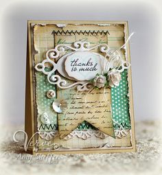 Spellbinder and Verve from Pickled Paper Designs: Vintage Chic Thanks - DS74