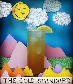 XXVI. THE GOLD STANDARD. Rye, apricot nectar, salted honey syrup, lemon, soda.