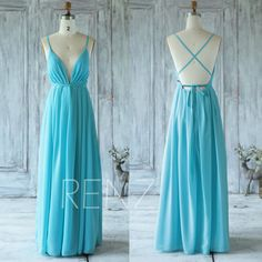 2017 Sky Blue Chiffon Bridesmaid Dress V Neck Wedding by RenzRags
