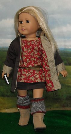 Brown Twill Coat Skirt and Tunic Outfit by SugarloafDollClothes. $85.00