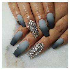 """Mindy Hardy Nails on Instagram: """"Grey flannel for @camilaainc... ❤ liked on Polyvore featuring beauty products, nail care and nails"""