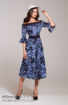 d56dcbc33574 Dark blue  summer  dress with beautiful and trendy print