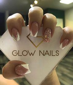 Glow Nails, Aycrlic Nails, Nail Manicure, Pink Ombre Nails, Rose Gold Nails, Bling Nail Art, Bling Nails, Bridal Nails, Wedding Nails