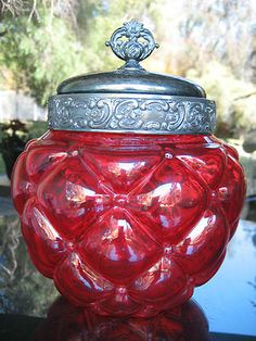 Consolidated Victorian Biscuit Jar Glass Diamond Quilted Cranberry Pigeon Blood | eBay