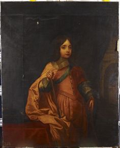"""William III, when Prince of Orange"" by an unknown English artist (1658) in the Royal Collection, UK - From the curators' comments: ""This portrait shows the Prince in 'coats' (that is a skirt rather than breeches). In other respects he appears quite grown-up and manly: he wears a sword and holds a baton of command. This and his appearance suggest that he is just of an age to be 'breeched'...seven or eight years old and that the portrait therefore dates from c. 1658."""