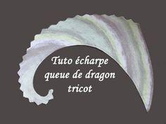 """Pour réaliser cette écharpe """" Queue de Dragon """" vous pouvez utiliser toutes sortes et grosseur de laines et varier les couleurs à chaque ..."""