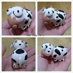 Dee Raa Arts polymer clay fimo sculpey cute kawaii animal cow