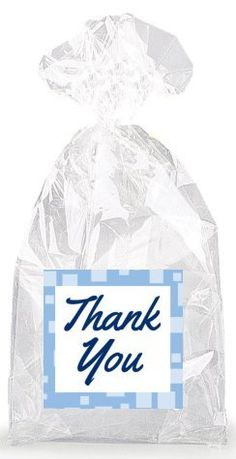 Dark Blue on Baby Blue Thank You Party Favor Bags with Ties - 12pack >>> Click image for more details.