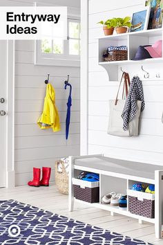 Functional Farmhouse Mudroom With Storage Collection : Target. Need bench for shoes + seating, replace wall hanger with cubbies + solid purse hooks White Bench Entryway, Entryway Bench Storage, Entryway Furniture, Furniture Legs, Storage Baskets, Closet Bench, Entry Closet, Rustic Entryway, Hall Closet