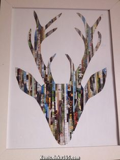 Drew a silhouette of a stag head and cut strips out of a hunting and fishing magazine and .tadaaaaa Drew a silhouette of a stag head and cut strips out of a hunting and fishing magazine and . Recycled Art Projects, Recycled Crafts, Craft Projects, Art For Kids, Crafts For Kids, Arts And Crafts, Recycled Magazine Crafts, Recycled Magazines, Art Diy