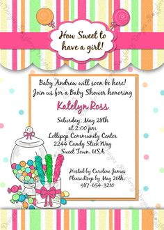 Candy Baby Shower Invitation Candy Invite Candy Theme Sweet Theme Baby Shower Printable Invitation Custom Invitation Sweet Shoppe Invite