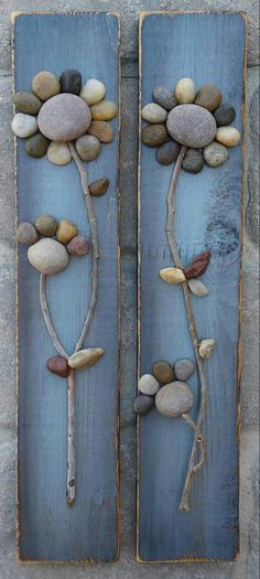 Pebble Art / Rock Art Flowers (set of matching reclaimed wood pieces displaying cute patchwork fl Stone Crafts, Rock Crafts, Diy And Crafts, Arts And Crafts, Art Rupestre, Rock Flowers, Rock And Pebbles, Stone Pictures, Flower Art