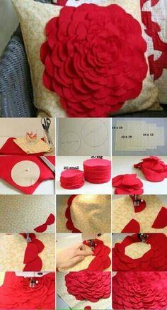 Ideas Sewing Diy Pillows Fabrics For 2019 Felt Flower Pillow, Felt Pillow, Pillow Fabric, Felt Flowers Patterns, Diy Flowers, Fabric Flowers, Sewing Pillows, Diy Pillows, Diy Home Crafts
