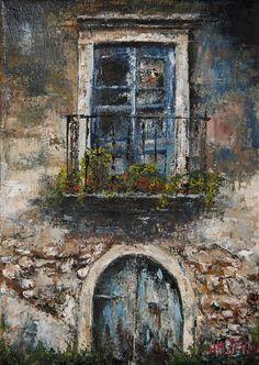 Trabajo en óleo y espátula interpretado - Puerta en el Pueblo. Work in oil and spatule interpreted - Door in the Village. HMZEN'15