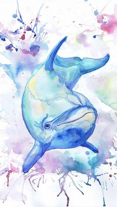sea creatures art - Dolphin Art Ocean Animals Watercolor Painting Underwater Under the Sea life Bathroom Decor Prints Wall art Artwork Blue Nautical Nursery Watercolor Sea, Watercolor Animals, Watercolor Paintings, Underwater Wallpaper, Underwater Art, Animal Paintings, Animal Drawings, Drawing Animals, Dolphin Art