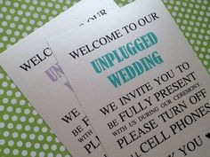Unplugged Wedding Sign, No Cell Phones, Turn Off, Unplugged Sign