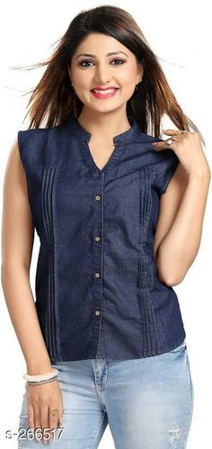 Shirts Fashionable Denim Women's Shirt  *Fabric* Denim   *Sleeves* Sleeves Are Not Included   *Size* S - 36 in, M - 38 in, L - 40 in, XL - 42 in   *Length* Up To 25 in            *Type* Stitched   *Description* It Has 1 Piece Of Shirt   *Pattern* Pleats  *Sizes Available* S, M, L, XL *   Catalog Rating: ★4 (148)  Catalog Name: Free Mask Trendyfrog Classy Denim Shirts Vol 14 CatalogID_27770 C79-SC1022 Code: 903-266517-