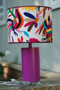 otomi in love with this bohemian chic eclectic embroidered lampshade on purple base. Mexican embroidery so folksy and awesome for vintage and charming vibe in lamp Mexican Home Decor, Mexican Folk Art, Mexican Bedroom Decor, Mexican Decorations, Mexican Textiles, Mexican Fabric, Mexican Embroidery, Embroidery Ideas, Boho Home