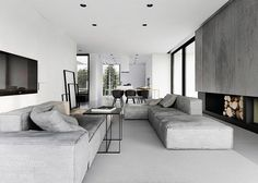 Amazing renders - r-house interior design, pabianice, by Tamizo Architects Gray Interior, Living Room Interior, Modern Interior Design, Home Living Room, Interior Architecture, Living Room Designs, Living Spaces, Modern Interiors, Interior Livingroom
