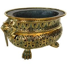 French Brass Pierced and Repousse Oval Jardiniere, circa 1800