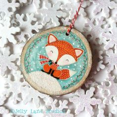 ON SALE Fox Ornament, Rustic Ornament, Rustic Woodland Animal Ornament, Woodland Christmas, Handpain Fox Ornaments, Personalized Christmas Ornaments, Handmade Ornaments, Diy Christmas Ornaments, Christmas Art, Christmas Projects, Holiday Crafts, Christmas Decorations, Xmas