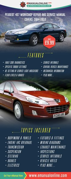 Peugeot 407 Workshop Repair And Service Manual  This workshop manual consists of search facilities based on VIN number, engine code and transmission code, hence allowing you to pinpoint the workshop, repair or service manual data for your exact vehicle. #BESTONLINEMANUAL
