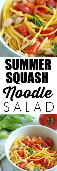 "Have you tried vegetable noodles yet? These summer squash ""noodles"" make a tasty and healthy side dish that takes just minutes to make. Summer Squash Noodle Salad with Lime Vinaigrette - Happy Healthy Mama Squash Noodles, Vegetable Noodles, Vegetable Dishes, Clean Eating Recipes, Healthy Eating, Real Food Recipes, Healthy Recipes, Healthy Salads, Veggie Recipes"