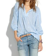 Embroidered Openview Tunic: Love in bleu Cool Outfits, Casual Outfits, Denim Fashion, Womens Fashion, Wrap Shirt, Jeans, Textiles, Material Girls, Dress To Impress