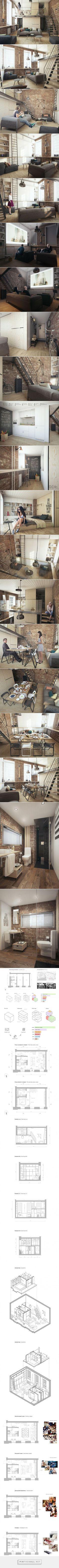 Proyecto de apartamento mínimo. Los espacios se utilizan de distintas formas cada vez.: