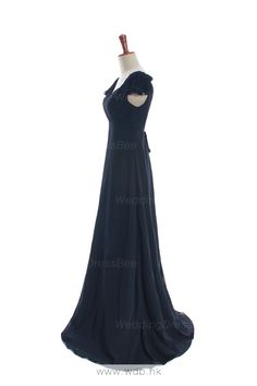 Straps chiffon bridesmaid dress with empire waist $130.8