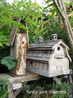 More DIY birdhouses from scraps - cute!  Pencil as a perch!