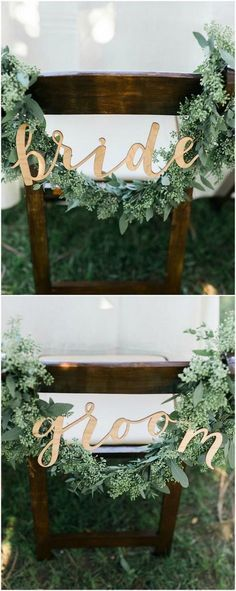 greenery themed bride and groom wedding chair decorations