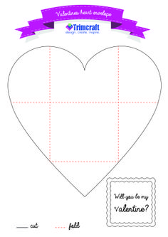 Free Heart Envelope Template http://www.trimcraft.co.uk/articles/3-last-minute-valentine-s-projects-with-heart-cards-floral-decorations-secret-message-envelopes
