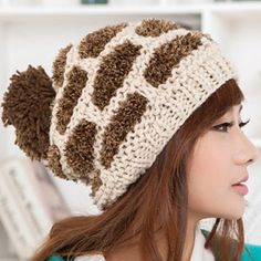 $8.03 Chic Football Surface Pattern Color Block Knitted Hat For Women