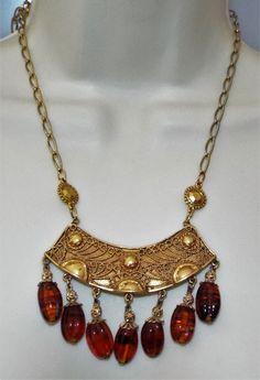 Vintage Huge Dangling Etruscan Revival Necklace molded root beer beads runway #Unbranded #runwaycouture