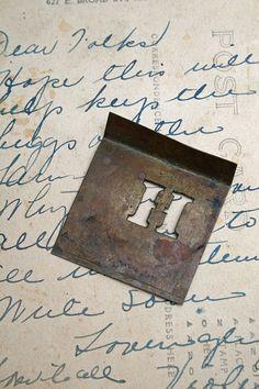 Vintage Brass Stencil  The Letter H  Altered Art by AVintageSeason, $2.75