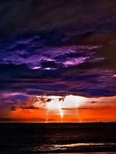 Anastasia Island Lightning Florida by James Watkins