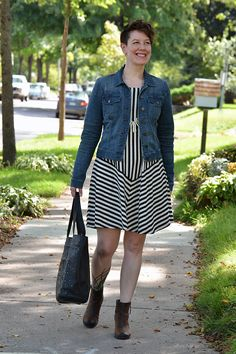 Already Pretty outfit featuring denim jacket, Gudrun Sjödén striped dress, brown ankle boots, Frye studded skull tote