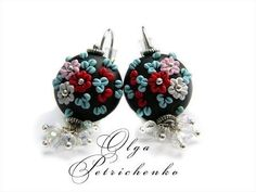 Earrings made ​​of polymer clay. Embroidery flowers.