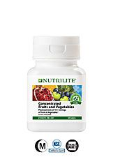 Nutrilite® Concentrated Fruits and Vegetables- Phytonutrients equal to 10+ servings of fruits and vegetables Rich with antioxidants to fight free radicals. This supplement is bursting with phytonutrients made from whole food extracts, including: Lycopene to promote prostate health.† Lutein to promote eye health.† EGCG1 and quercetin to support circulatory and heart health. Hesperidin to support circulatory health. Ellagic acid to support colon health.