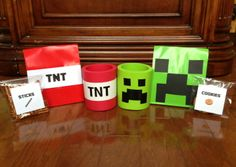 Goody Bags For Minecraft PartyPaper Sacks 33 And Coozies 1 Both From Wal Mart TNT Coozie Is White Duct Tape Sticker Letters