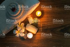 home spa with soap and candles royalty-free stock photo