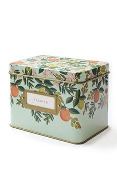 Pigment - Rifle Paper Co. Citrus Floral Tin Recipe Box, $34.00 (http://www.shoppigment.com/rifle-paper-co-citrus-floral-tin-recipe-box/)