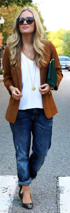 Camel Women's Blazer tshirt and boyfriend jeans- yes on everyone