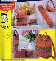 Simplicity 4936, Bags Pattern, Backpack, Fanny Pack, Yoga Mat Bag, Uses Pre Quilted Fabrics, Very Easy to Sew Bags, Grocery Bag Holder by OnceUponAnHeirloom on Etsy