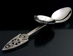 RARE RUSSIAN SILVER TEA INFUSER SPOON c1970's BEAUTIFUL TEA STRAINER MODERNIST