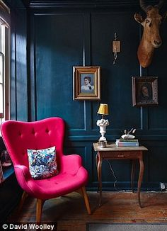 Painted a dramatic deep blue  (Dulux Azure Fusion 1), the  first-floor drawing room double...